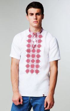 Чоловіча вишита сорочка на короткий рукав (406) Чоловіча сорочка на  короткий рукав з натурального 923f697d464ce