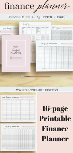 This Printable Finance Planner Money Organizer includes everything you'll need to get your finances straighten out there are 16 pages you can use to track monthly expenses and more #budget #planner #finances #money #organizer #afflink