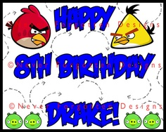 Angry Birds Custom Birthday Party Sign / Frosting Cake Sheet Design! Visit Never Forgotten Design's Etsy Story for yours!
