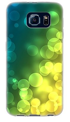 {Colorful Arranged Bubbles} Soft and Smooth Silicone Cute 3D Fitted Bumper Back Cover Gel Case for Samsung Galaxy S6 {Color is Green, Yellow Blue}