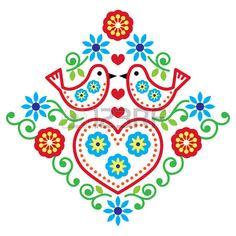 Folk art floral vector pattern with birds Stock Vector