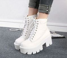 shoes boots white platform shoes lace up boots timberlands it girl shop grunge Cute Shoes For Teens, Girls Shoes, Teen Shoes, Sneakers Fashion, Fashion Shoes, Emo Fashion, Mode Emo, White Platform Shoes, Platform Ankle Boots