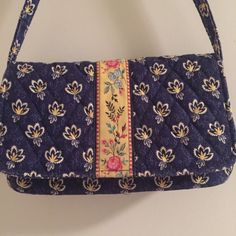 8287bf1a06 Vera Bradley Maison Blue Small Purse Handbag Child Size Floral Yellow Pink   VeraBradley  Handbag