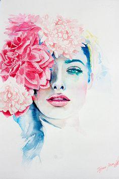 Aquarell-Druck. Wand Kunst Portrait schöne von TatyanaIlieva
