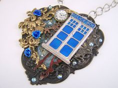 Dr Who Necklace Assemblage Collage Mixed Media by thefaerywatcher, $72.00