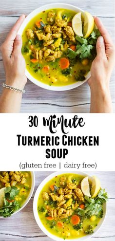 Make this Turmeric Chicken Soup in under 30 minutes for a healthy, cozy, and anti-inflammatory dinner. Dairy free. Gluten free.