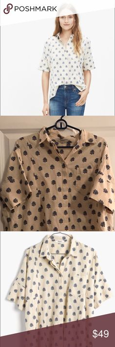"""Flower print Madewell """"Academie"""" shirt Short sleeve collared blouse with sweet blue floral print. Madewell. New without tags--never worn. Loose, slightly boxy (but flattering!) fit. Goes well with skinny jeans and sandals. Madewell Tops Button Down Shirts"""