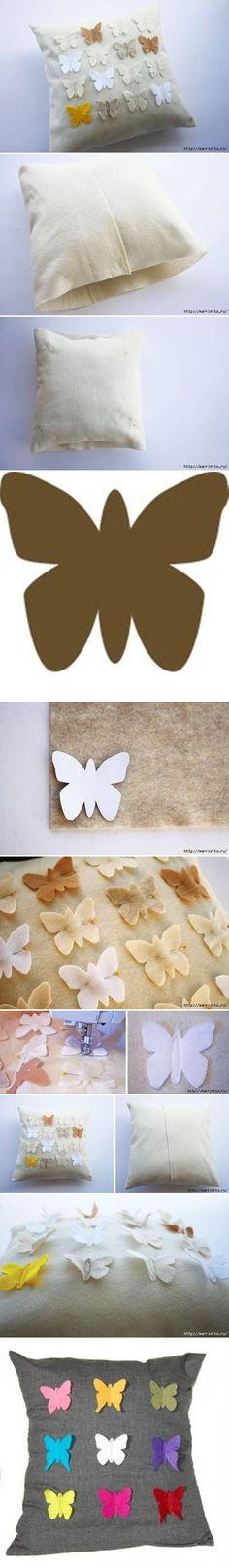 How To Make Butterfly down Pillow Cover step by step DIY tutorial instructions / How To Instructions