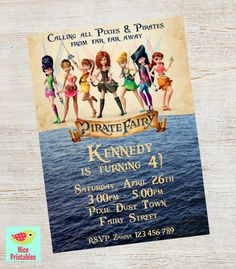 Pirate Fairy Invitation, disney fairy, Pirate Fairy Birthday, Pirate Fairy Party, Printable, Digital file on Etsy, $11.00
