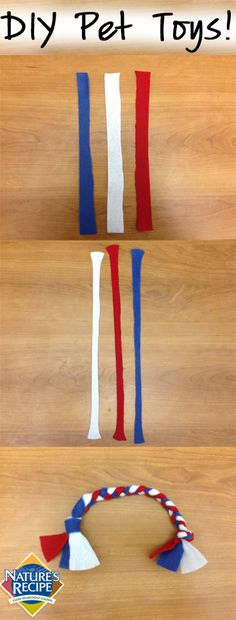 Your pup will be tuggin' away with this fun, yet simple, #DIY rope toy made out of recycled shirts! #pet #dog #craft #recycle