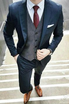 wedding suits men Mens Business 3 Piece Suit Up To Groom Outfit, Groom Attire, Wedding Men, Wedding Suits, Wedding Ideas, Wedding Venues, Men Wedding Attire, Wedding Cakes, Blue Suit Wedding