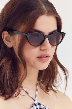 Slide View: 1: Slim Retro Cat-Eye Sunglasses
