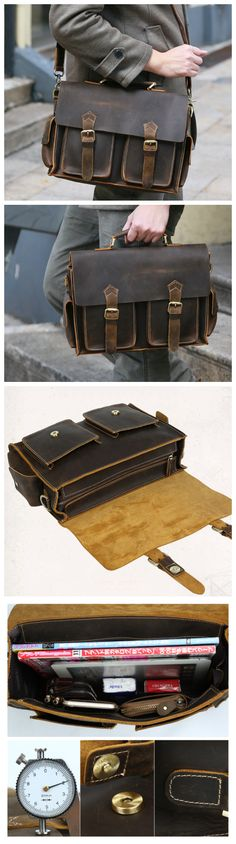 Hand Stitched Leather Messenger Bag, Mens Messenger Bag, Leather Accessories For Men (C128) - Thumbnail 4 #mensaccessoriesdiy