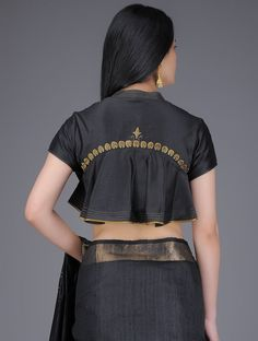 Black Mandarin Collar Flared Chanderi Blouse with Hand-cut Motif Embroidery – Blouse 2 Netted Blouse Designs, Stylish Blouse Design, Designer Blouse Patterns, Fancy Blouse Designs, Bridal Blouse Designs, Saree Blouse Neck Designs, Sari Blouse, Saree Blouse Patterns, Choli Designs