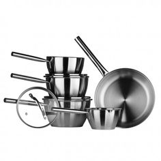 Tenzo C Series Cookware Set, Stainless Steel/Encapsulated Base, Glass Lids Year Guarantee Home And Garden Store, Wholesale Furniture, Cookware Set, Kitchen Dining, Room Kitchen, Kitchen Accessories, Kitchenware, Stainless Steel, Glass