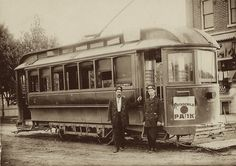 THE ROTHSCHILD PARK TROLLEY AND TWO CONDUCTORS IN WAUSAU, WISCONSIN