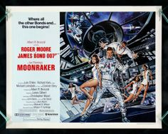 007 #11 1979 Moonraker • Bond: Roger Moore (4th) • BondGirls: Lois Chiles (2nd US) as Holly Goodhead & Corinne Cléry as Corinne Dufour • Evil: Michael Lonsdale (French) as Hugo Drax + Richard Kiel as Jaws (2nd, 1st in previous Bond The Spy Who Loved Me 1977) • theme song by same title sung by Shirley Bassey (3rd!; 1st 3rd Bond Goldfinger 1964, 2nd 7th Bond Diamonds are Forever 1971)