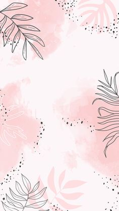 Download premium vector of Pink leafy watercolor mobile phone wallpaper
