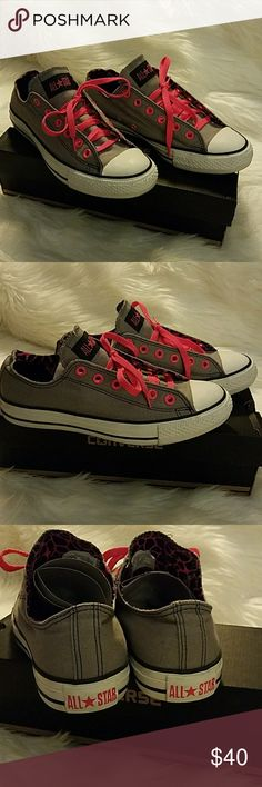 Women's Converse Grey w/Pink Laces SZ 9 Like new in excellent condition. Size 9 grey with hot pink laces very stylish Converse Shoes Sneakers