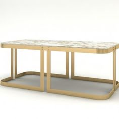 Coffee table in brushed metal available with different combinations of marble