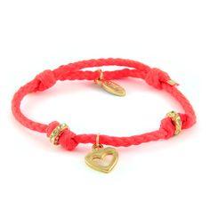 Ettika :: Bracelets :: Neon :: Heart and Gold Donut Rings on Neon Bolo Cord
