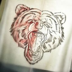 Traditional screaming bear head tattoo design - Tattooimages.biz