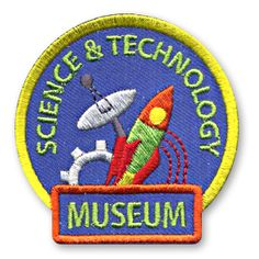 2 1/4 x 2 1/4 Inches **IRON-ON backing for easy & Snappy application** Commemorate your troop or classes recent trip to a Science and Technology museum with our bright and colorful Science & Technology Museum fun patch. http://www.snappylogos.com/Science-Technology-Museum-Fun-Patch/productinfo/3553/
