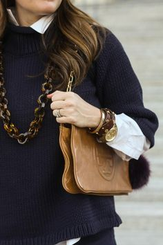 Tortoise link necklace with cute brown and gold accessories via Peaches In A Pod blog.