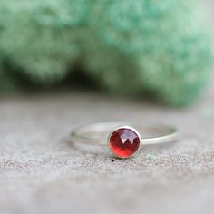 Stacking silver ring with Red Garnet