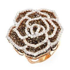 5.68 Carat (ctw) 14k Rose Gold White & Champagne Round Diamond Ladies Cocktail Ring