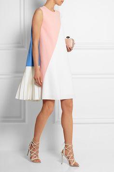 Roksanda|Color-block pleated wool-blend crepe dress|NET-A-PORTER.COM