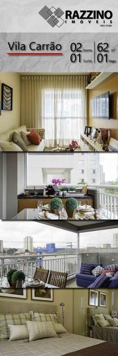 Apartamento de 62 m², 02 dormitórios sendo 01 suíte. Excelente localização na Vila Carrão, Zona Leste de São Paulo. Excelente oportunidade!