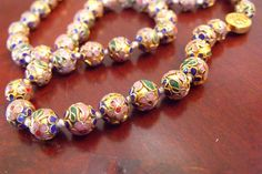 SOLD  Cloisonne Necklace / / Vintage Chinese Gold Bead by EstatesInTime