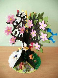 Seasons activities for preschoolers Diy Arts And Crafts, Diy Crafts For Kids, Seasons Activities, Egg Carton Crafts, Paper Tree, Paper Crafts Origami, Art N Craft, Tree Crafts, Summer Crafts