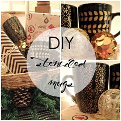 Gold Stenciled Mugs using a paint pen and a stencil! So easy and a fun gift! | Houseologie