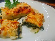 Caceroladas: Canelones de espinacas con piñones y atún