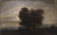 Johan Christian Clausen Dahl 1788 Bergen - 1857 Dresden Bäume im Mondschein Öl auf Papier, auf Leinwand aufgezogen. 11,1 x 17,7 cm. Signiert und datiert oben rechts: JDahl (JD ligiert). 1837.