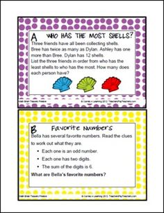 Here's a set of math brain teaser cards. Packet incudes suggestions for preparing the cards, ideas for using the brain teachers, and an answer key.