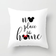 no place like home mickey and minnie mouse handwritten disney inspirational quote throw pillow with insert by studiomarshallgifts on Etsy Disney Diy, Casa Disney, Deco Disney, Disney Home Decor, Disney Crafts, Disney Love, Disney Stuff, Disney Ideas, Disney Throw Pillows