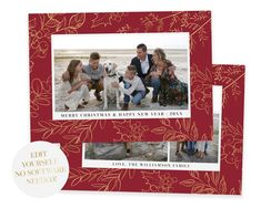 Spread some holiday cheer this season with this gold floral Christmas Card Template. Your beautiful family photos will look perfect in this 5x7 Christmas card. You can quickly and easily edit your card online in your web browser, then download and print right away! No software needed View MORE Christmas Card Template, Printable Christmas Cards, Merry Christmas Card, Christmas Photo Cards, Merry Christmas And Happy New Year, Christmas Photos, Holiday Cards, Holiday Birth Announcement, Birth Announcement Template