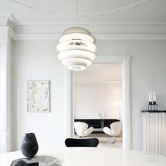 Poul Henningsen designed Snowball in 1958 and it was exhibited together with PH 5 at the Danish Museum of Decorative Art. Poul Henningsen designed Snowball in 1958 and it was exhibited together with PH 5 at the Danish Museum of Decorative Art. House Design, Interior, Snowball, Interior Inspiration, Pendant Lamp, Luxury House Designs, Scandinavian Interior, Pendant Light Fixtures, Danish Interior