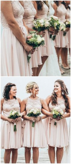 There's nothing more romantic than a lace and chiffon bridesmaid dress in blush.   Kennedy Blue Bridesmaids   Ali Kvidt Photography
