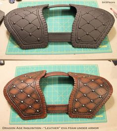 Dragon Age Inquisition Cosplay Leather Armor by SKSProps on DeviantArt Dragon Age Inquisition, Cosplay Diy, Cosplay Costumes, Foam Costumes, Eva Foam Armor, Craft Foam Armor, Larp Armor, Costume Armour, Pauldron