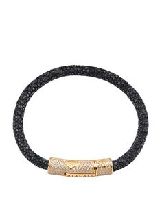 Easy Return & Exchange Service 6mm Black Stingray Bracelet Lock in 925 Solid Silver with 18K Gold Plating and Clear CZ Diamonds - Product Code: MSTING_031 Designer's Notes: Whether pairing it with for