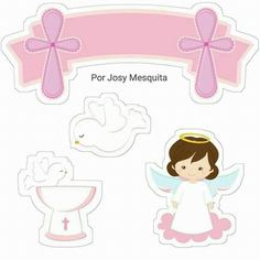 Nice Girl Free Printable Cake Toppers for First Communion. Here you have some Free Printable Cake Toppers for your Girl First Co. Free Printable Invitations, Free Printables, Deco Baby Shower, Dots Free, Candy Bar Labels, First Communion Party, Scrapbooking Freebies, Baby Boy Scrapbook, All Themes