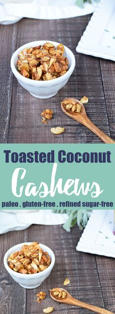 Toasted Coconut Cashews from Living Loving Paleo! | This is the perfect, easy to make snack to have on hand year-round! Also makes a delicious topping for salads and soups! | paleo, gluten-free, dairy-free and refined sugar-free