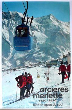 Affiche ancienne d'Orcières-Merlette, Alpes du Sud - 1968 - La vieille télécabine du Drouvet
