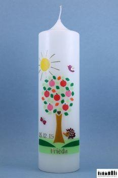 """Taufkerze """"Apfelbaum mit Sonne"""""""