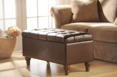 Kennedy Brown Faux Leather Tufted Bench and storage! #Kirklands #puttogooduse