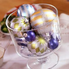 easier holiday, bowl, antique glass, christmas centerpieces, holiday centerpieces, christmas decorations, christma decor, glass ornaments, christmas ornaments